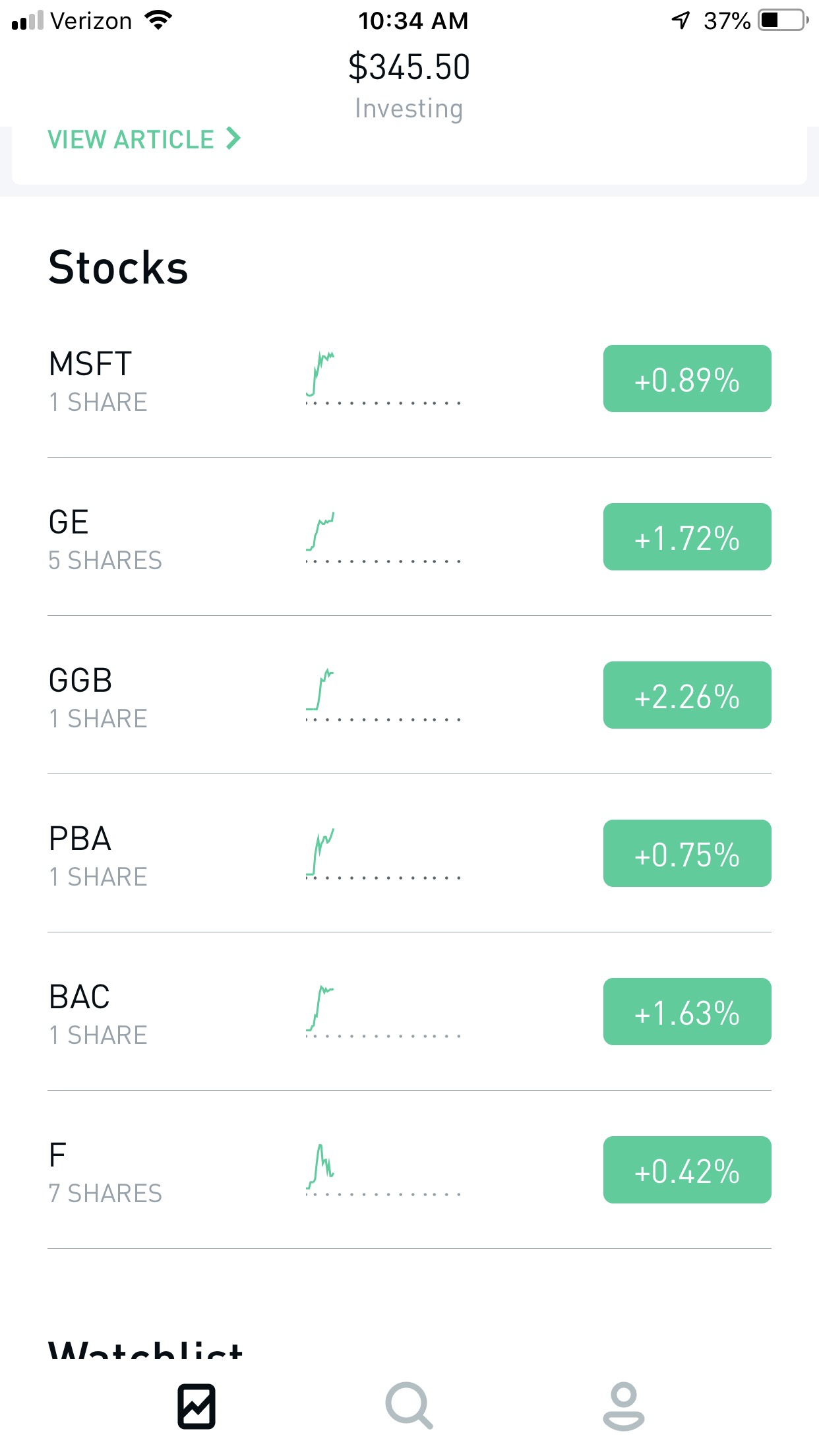 Robinhood Stock Investments